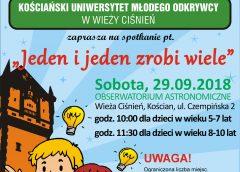 Kościański Uniwersytet Młodego Odkrywcy w Wieży Ciśnień zaprasza na spotkanie